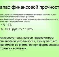 Запас финансовой прочности в процентах формула
