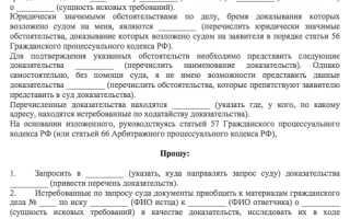 Заявление в суд об истребовании документов
