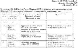 Образец акта приемапередачи трудовых книжек