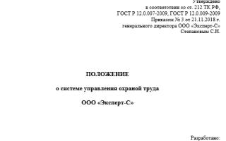 Положение о СУОТ на предприятии новый образец 2019 — 2020